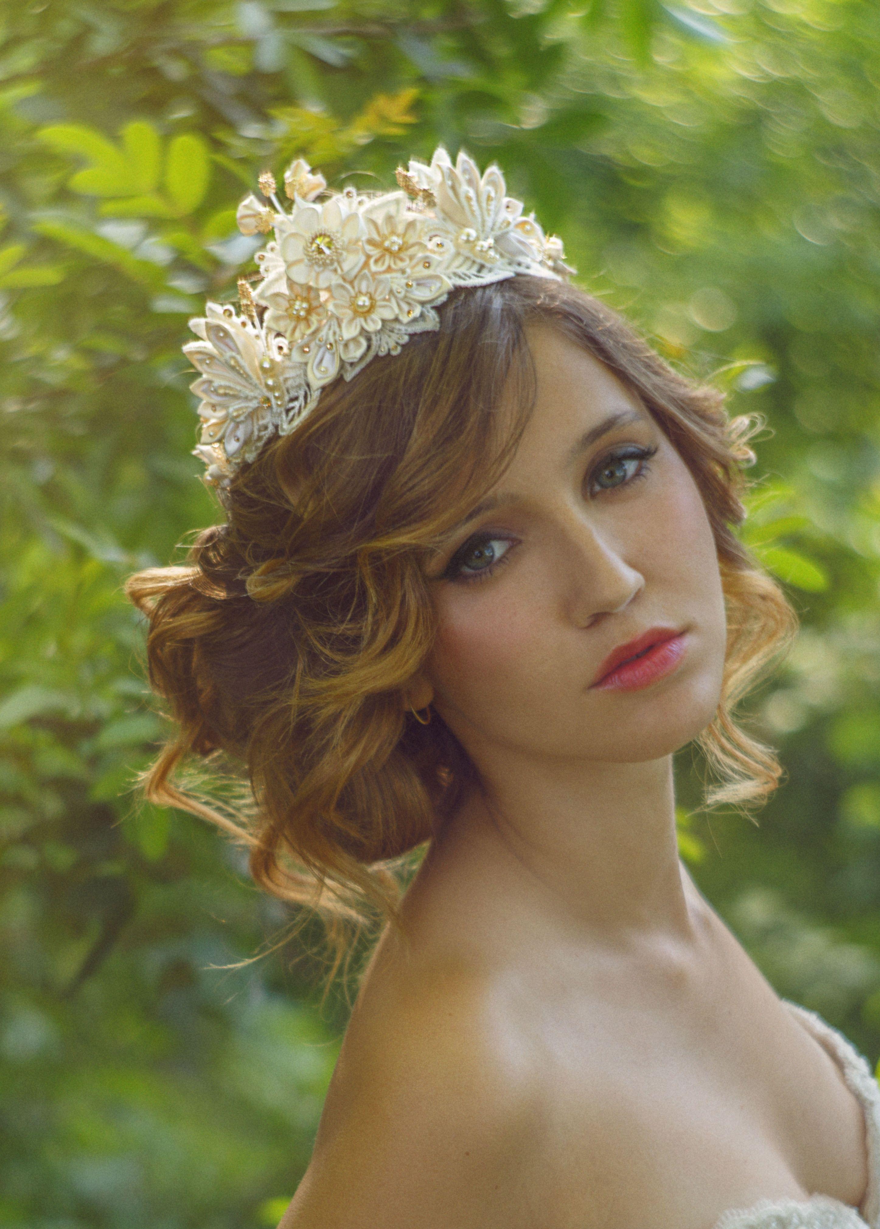 Sample Helene Ivory Honey Bridal Flower Crown Tiara Silk Flowers