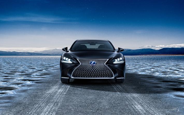 Lataa kuva 4k, Lexus LS 500h, 2018 autoja, japanilaiset autot, Lexus