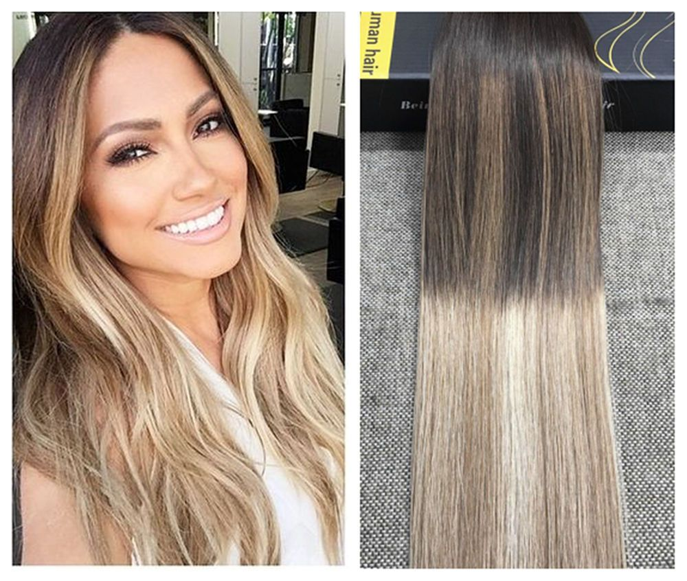 Brazilian Balayage Ombre Medium Brown Blonde Remy Tape In Human