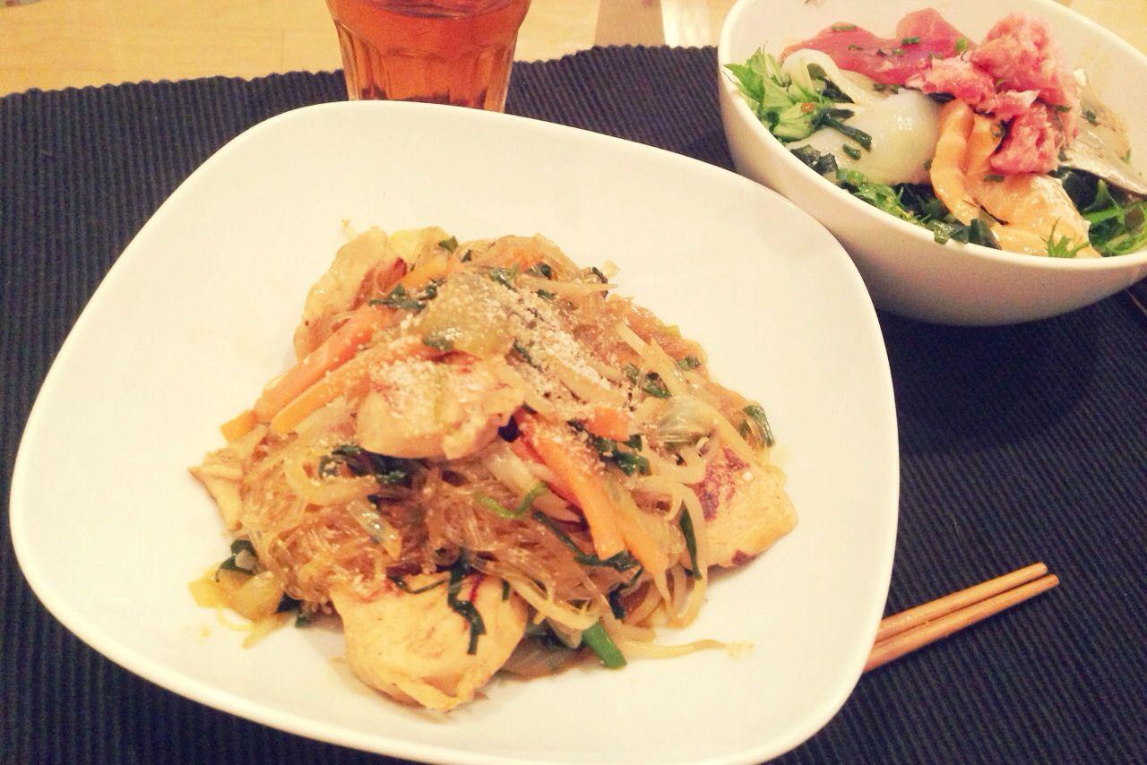 チャプチェ &サラダ  Korean Food