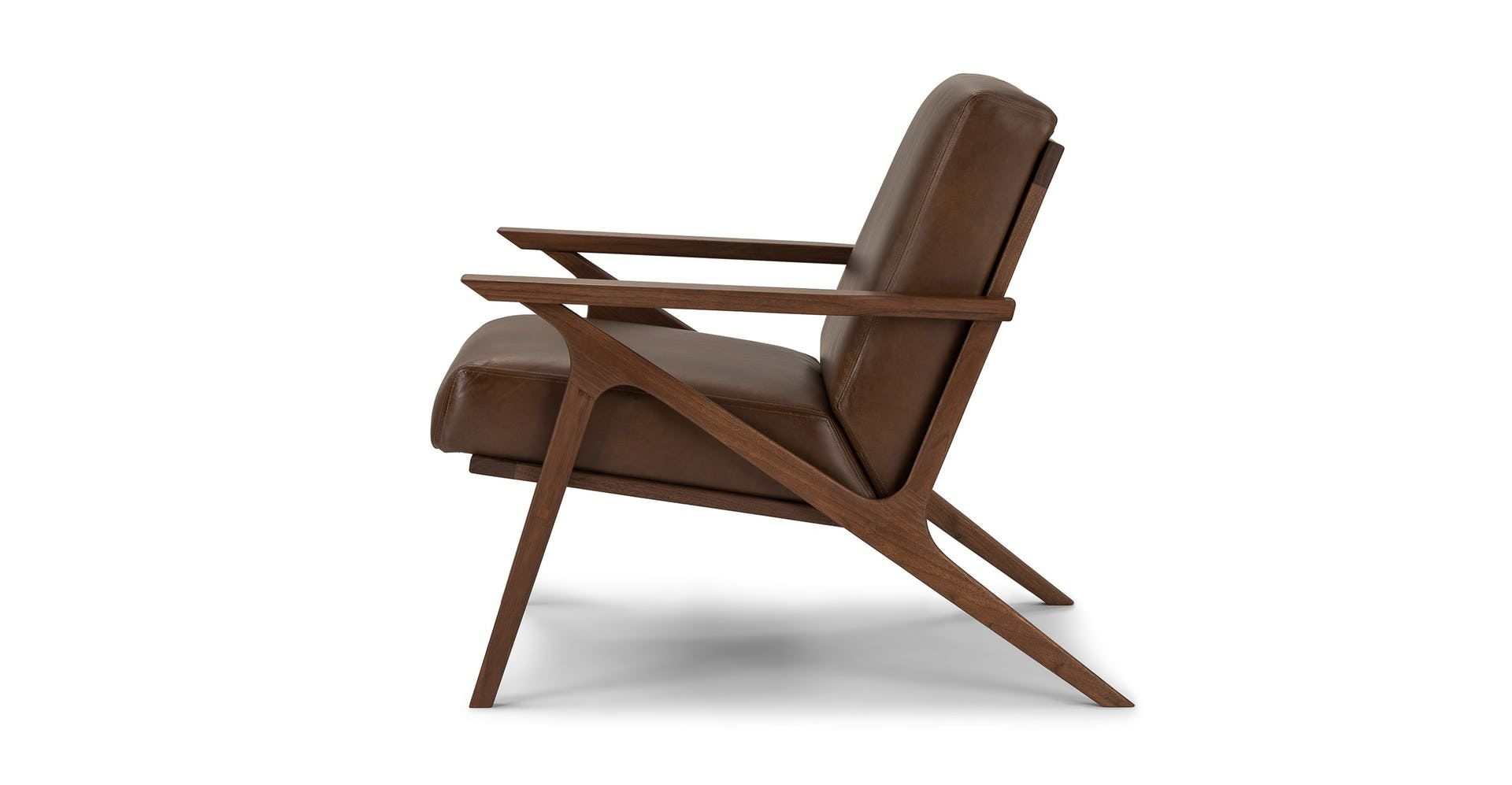 Best Otio Brown Leather Walnut Lounge Chair In 2019 Chair 400 x 300
