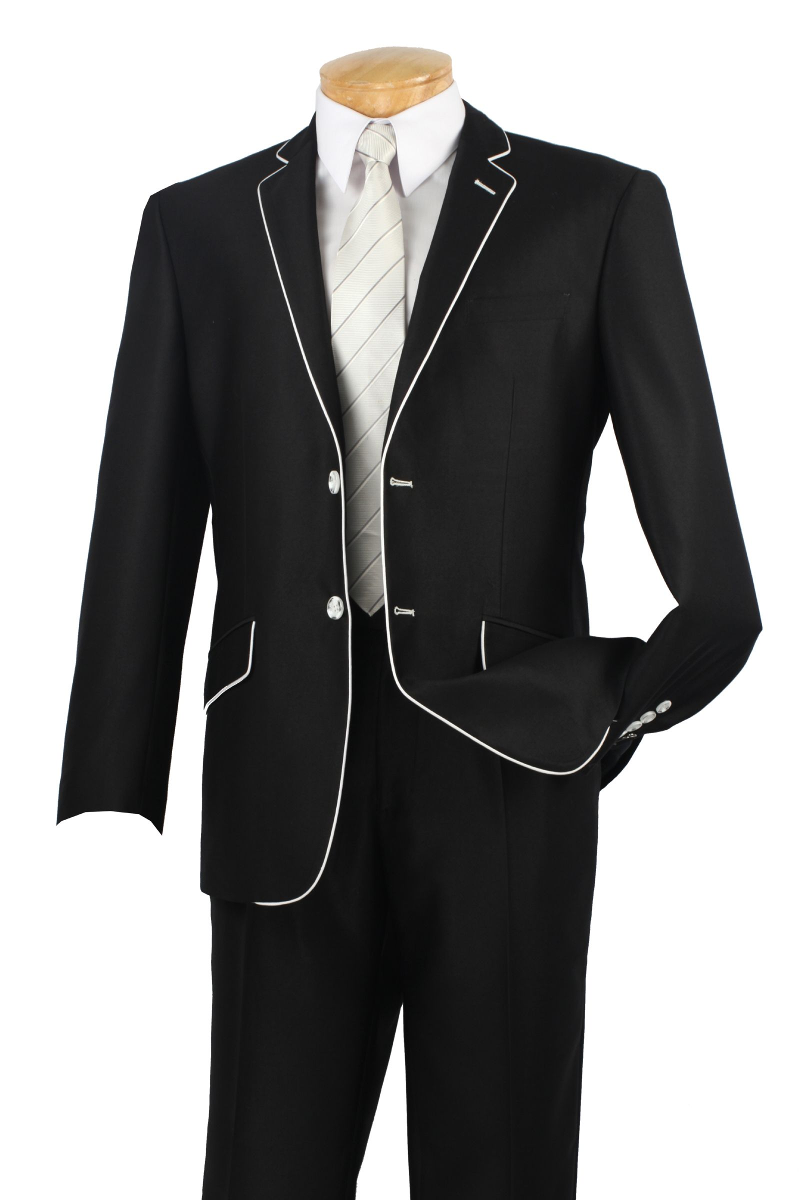 "Tailored blazer jacket in deep sea Notched lapels; long sleeves Black enamel button closure Satin faille piping and under-collar inset Fully lined Regular: Approx. 27"" from shoulder Petite: Approx. 25 5/8"" from shoulder Cotton/polyester/elastane."