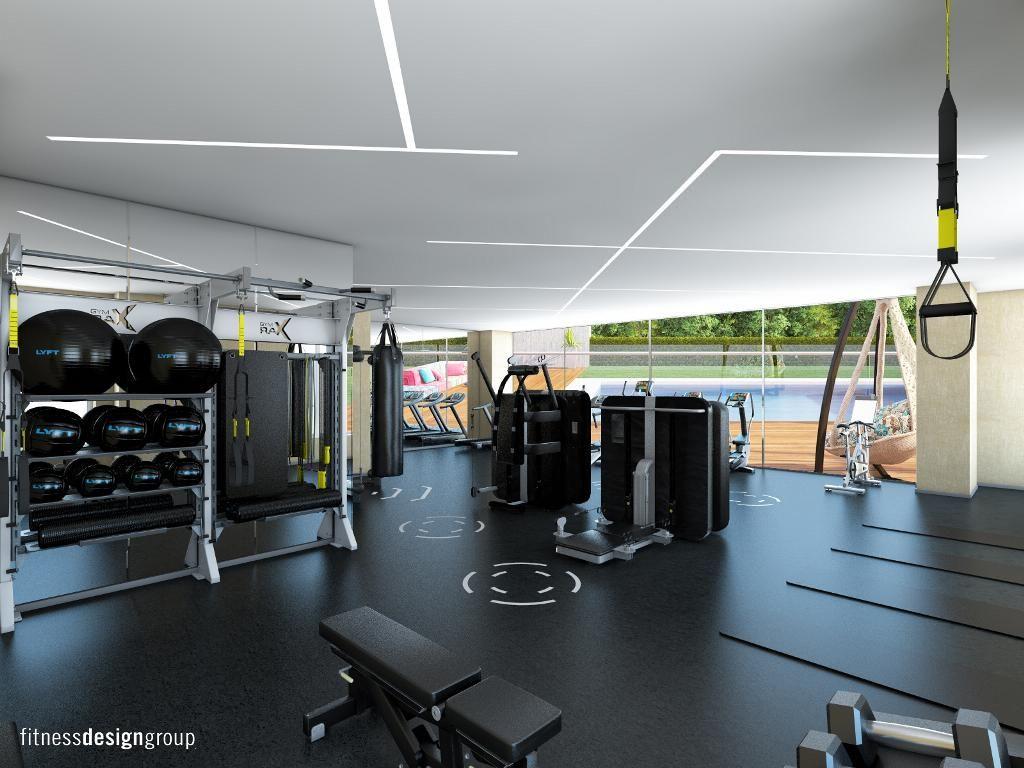 Fitness interior design gymrax technogym trx for Gym interior design