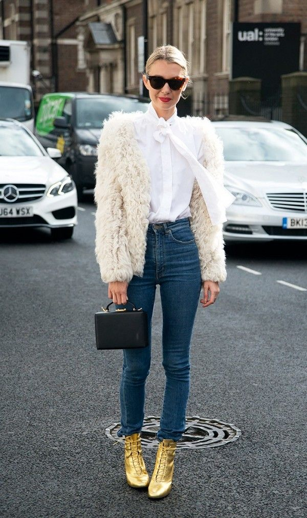 fur jacket + white blouse + high waisted jeans + metallic ankle boots b0f31886c