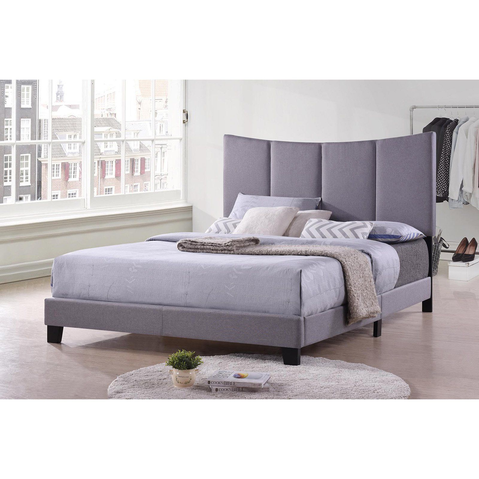 K B Furniture B8026f Polyester Upholstered Low Profile Bed Size