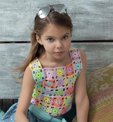 Haakpakket topje in veelkleurige vierkanten phil coton met gratis patroon om te haken | C.R. Couture