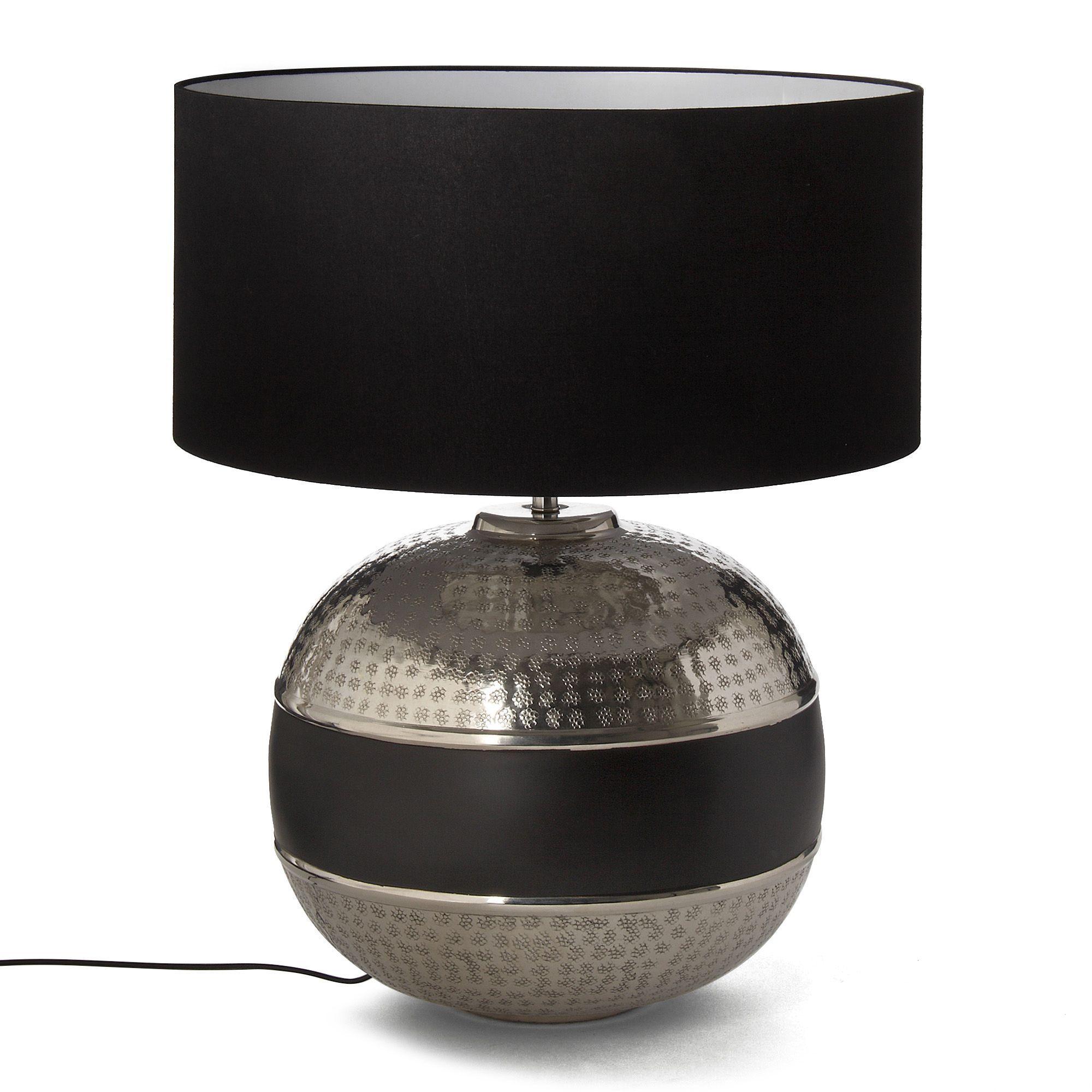 lampe avec abat jour alu noir h56cm mahara les lampes. Black Bedroom Furniture Sets. Home Design Ideas
