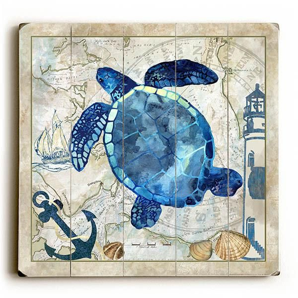 Add A Coastal Appeal To Your Kitchen With The Oasis: Sea Turtle By Artist Jill Meyer Wood Sign