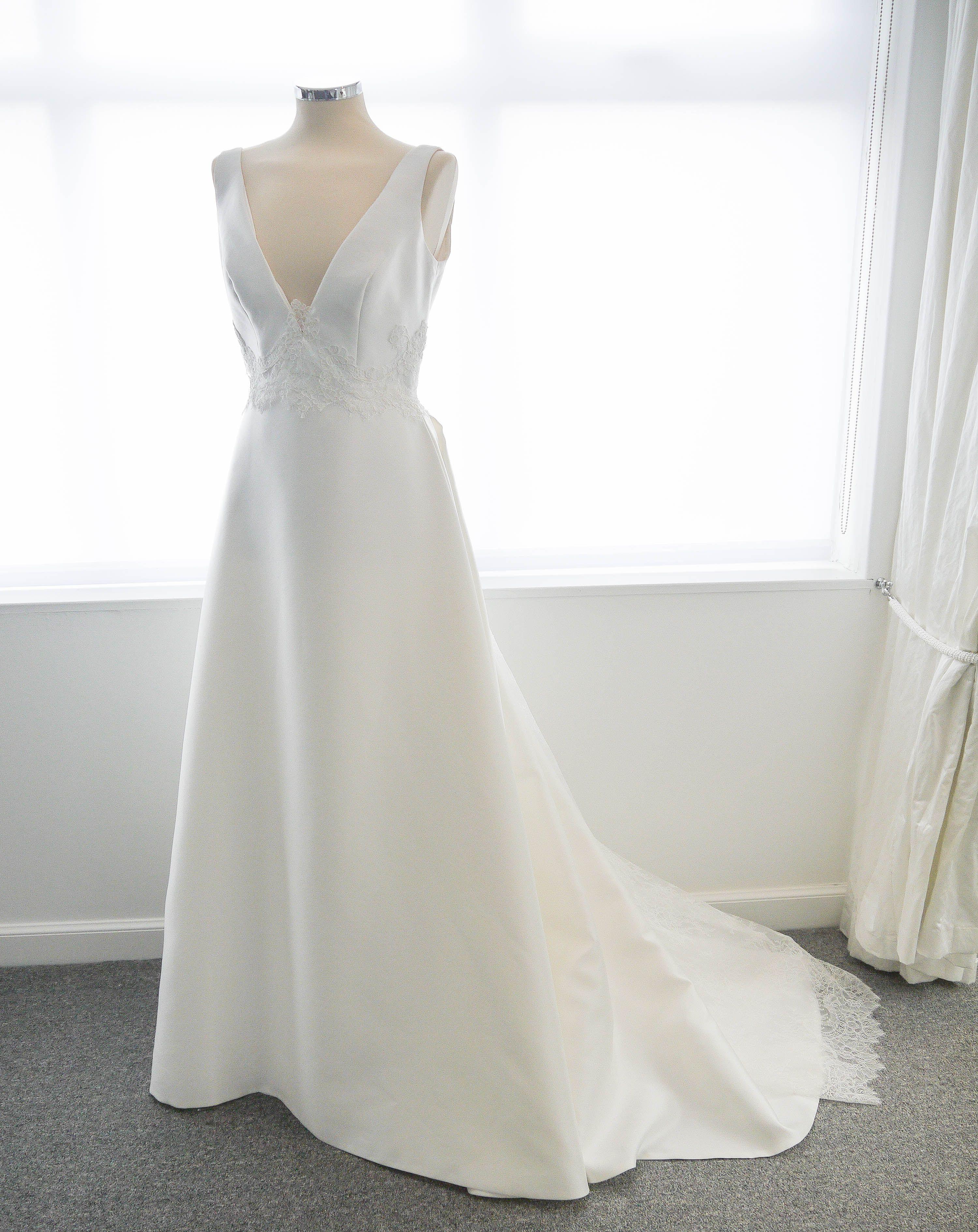 Idesofengland traditional wedding dress deep neckline