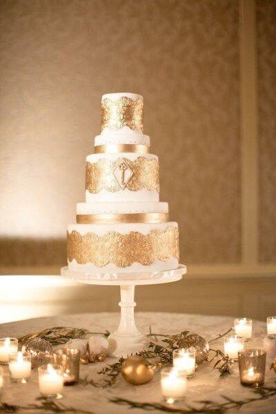 Gâteau Mariage Blanc Et Or Doré Weeding Cake White And Gold