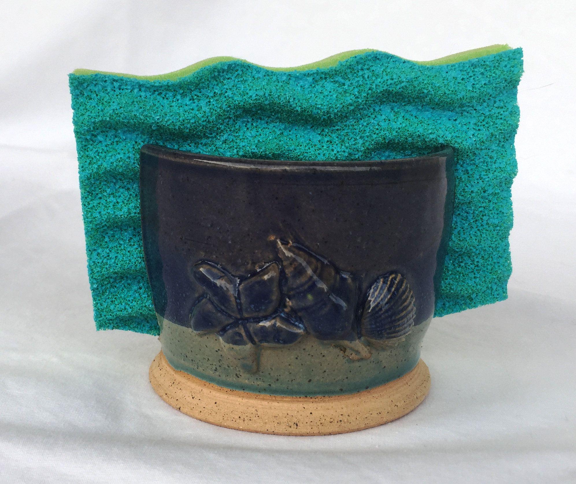Pottery sponge holder - Ceramic sponge holder - kitchen scrub holder ...