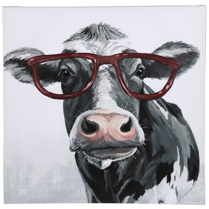 Cow Wearing Glasses Canvas Wall Decor Hobby Lobby 5228549 Canvas Wall Decor Cow Decor Cow Wall Decor