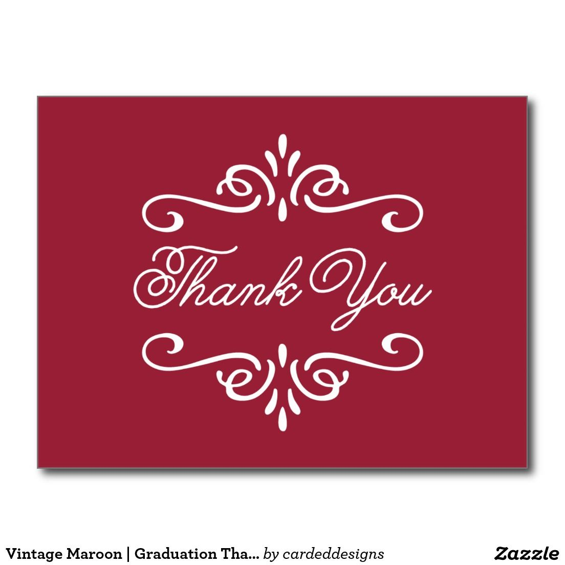 Vintage Maroon | Graduation Thank You Postcard