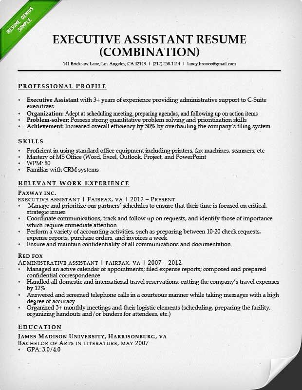 Combination Resume For An Executive Assistant Job Sample Resume