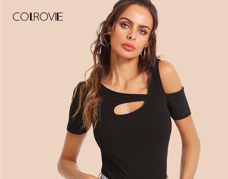 7c29edcfb5 Buy Online COLROVIE Burgundy Cutout Asymmetrical Neck Ribbed Top Tees 2018  New Summer Black Vest Clothing Stretchy Casual Women Shirts  shirt  tshirt