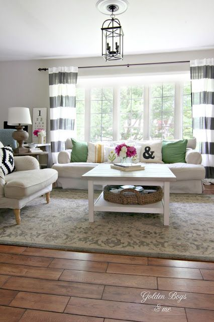 Changes in our Living Room & Entryway Summer Changes 2015 in the Living Room with striped drapes and Ikea furniture-Summer Changes 2015 in the Living Room with striped drapes and Ikea furniture-