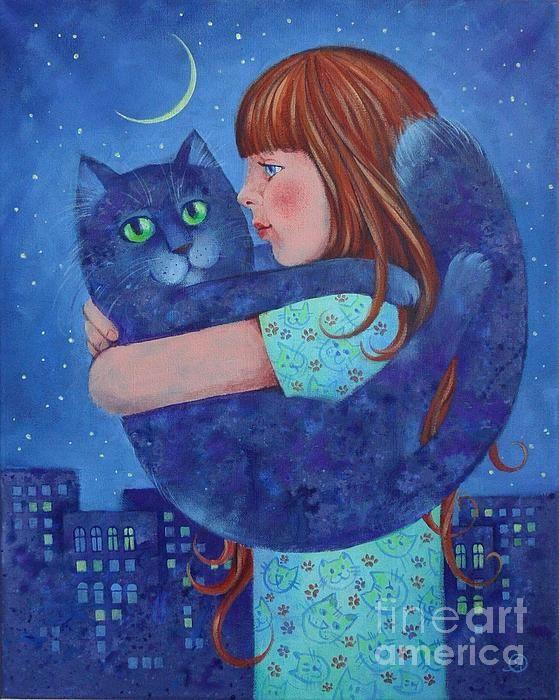 Moon Cat and Child by Olga Yakubouskaya   Cat painting, Cat art print, Cat  artwork