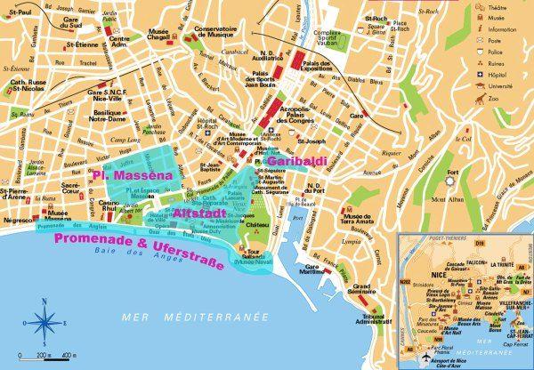 landkarte nizza frankreich Wo essen und trinken in Nizza? | Frankreich karte, Touristenkarte