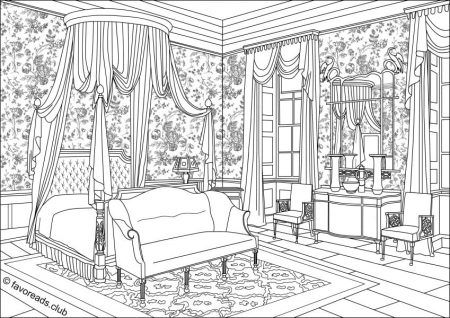 Authentic Architecture Bedroom Interior Disney Coloring