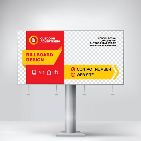 Red Outdoor Advertising Billboard Template Vector 06 Free Eps File