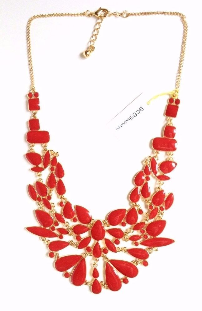 NEW BCBGeneration BCBG NECKLACE RED FAUX GOLD COLLAR WOMENS JEWELRY