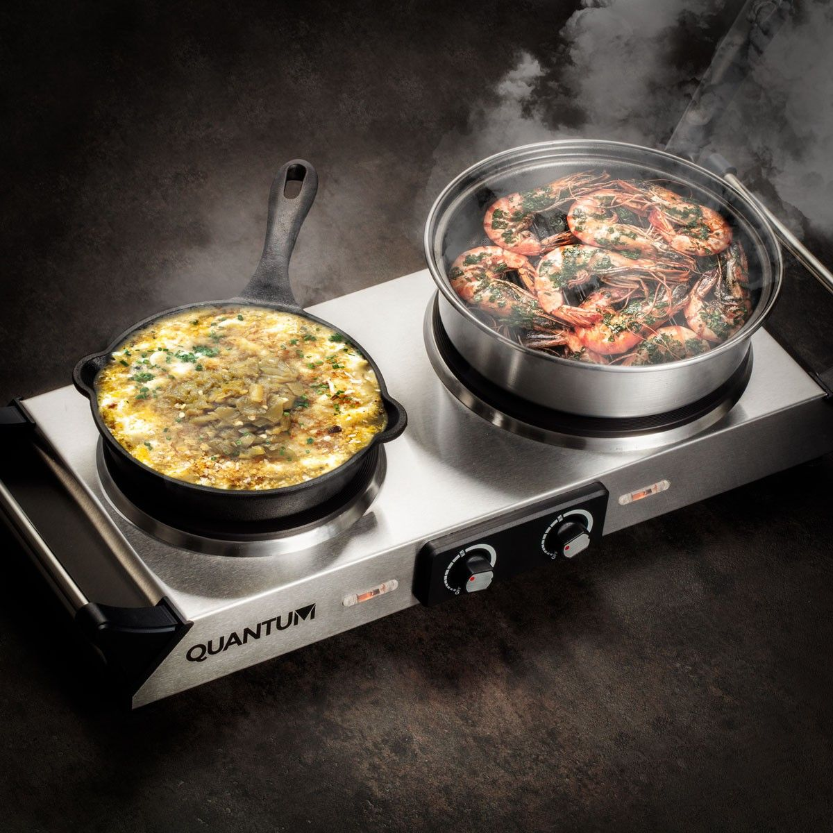 Quantum Double Stainless Steel Countertop Electric Burner With