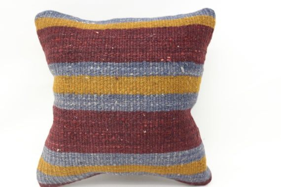 12x12 Kilim Pillow, Needlepoint Kits Pillow, Striped Pillow, Throw Pillow, Yellow Pillow, Boho Pillo