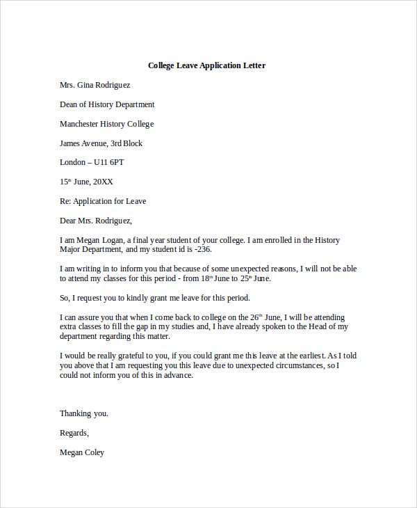 Sample College Application Letter Documents Pdf Word For Leave
