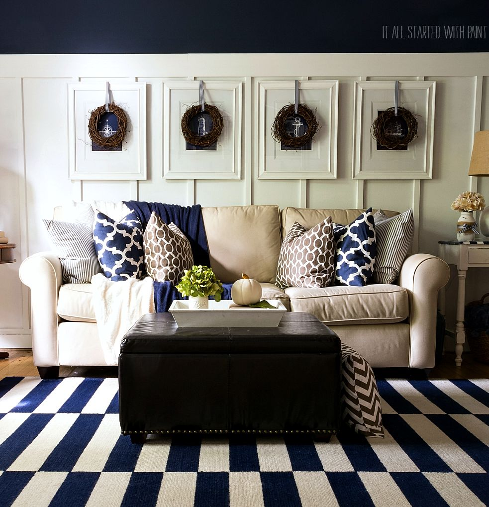 Fall In The Living Room Navy Brown It All Started With Paint Brown Living Room Navy Blue Living Room Brown Living Room Decor