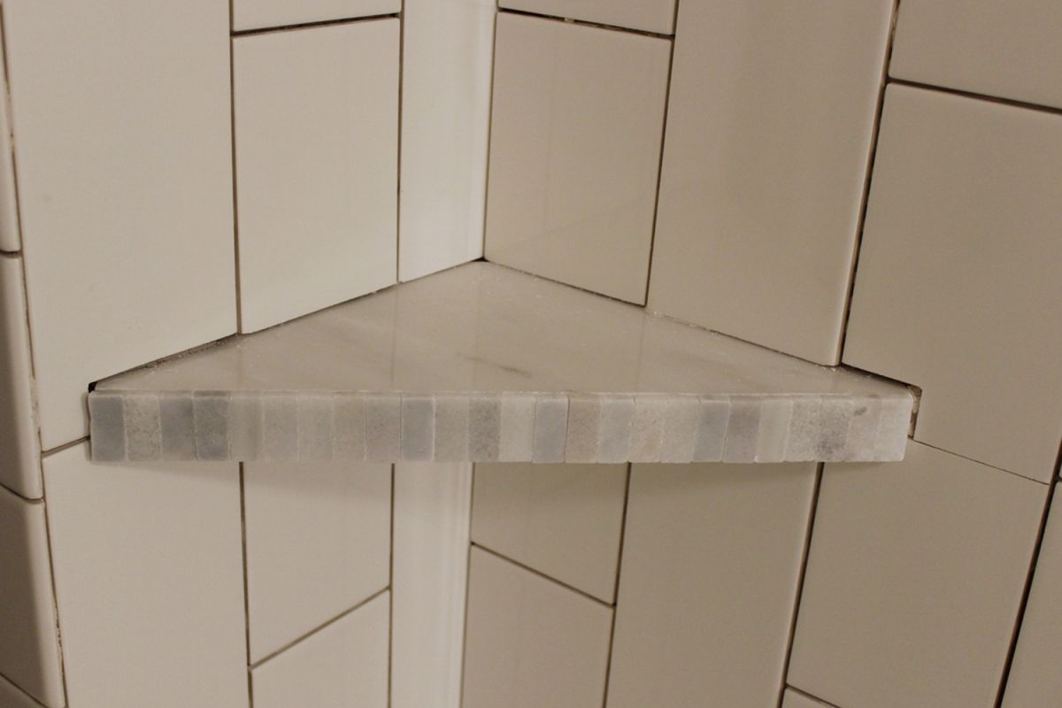 How to Install a Tile Shower Corner Shelf | Shower corner shelf ...