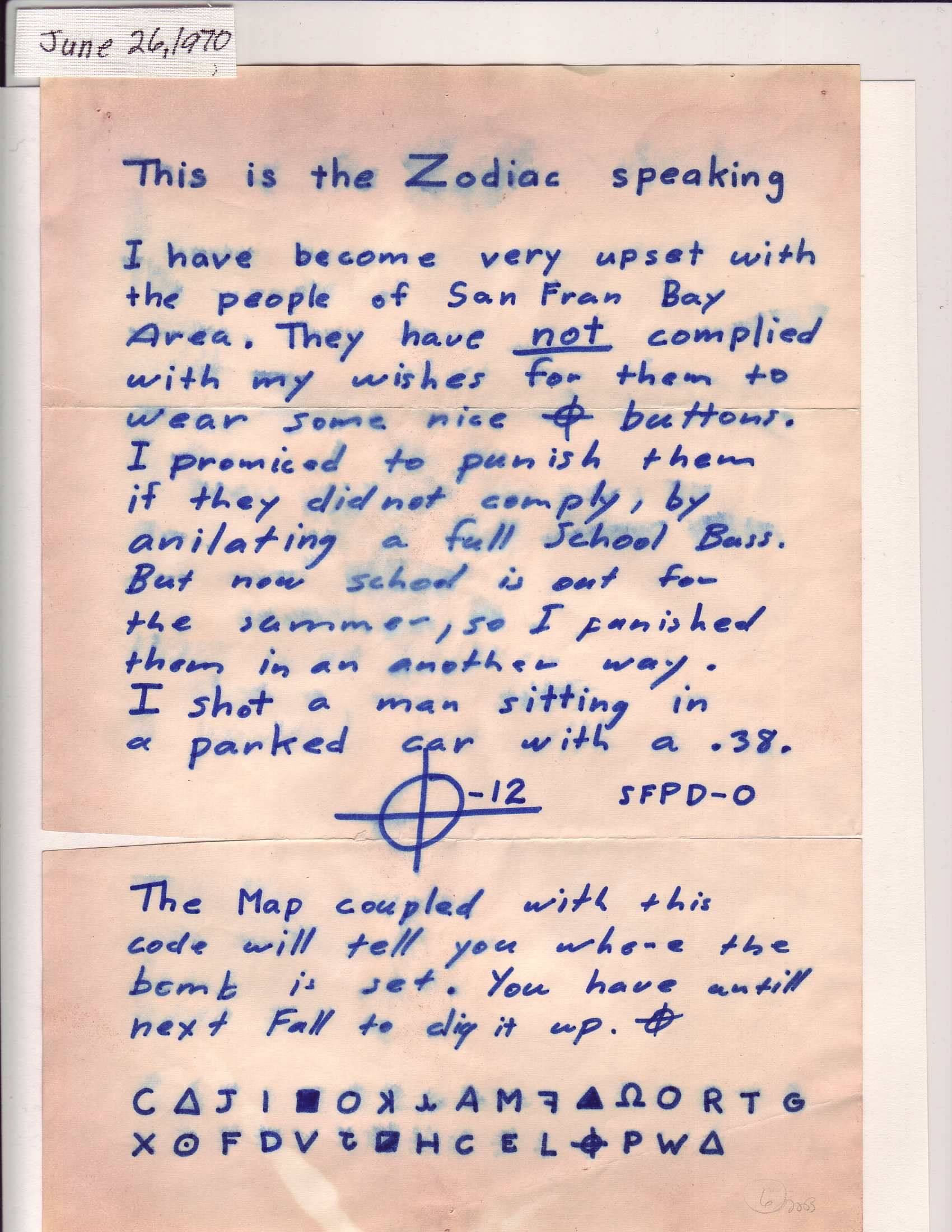 the zodiac killer mystery The zodiac killer is one of the most notorious unidentified killers of the 20th century in the late 1960s and early '70s, he murdered at least five people (though he claims to have killed.