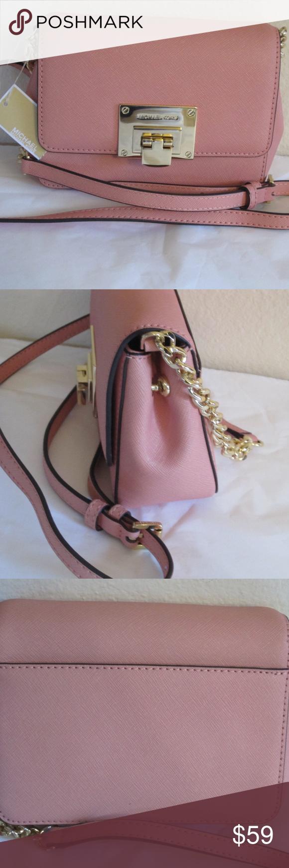 86a227eda Michael Kors Tina Saffiano Leather Peach Crossbody Michael Kors Tina Small  Crossbody Convertible Clutch Bag NWT