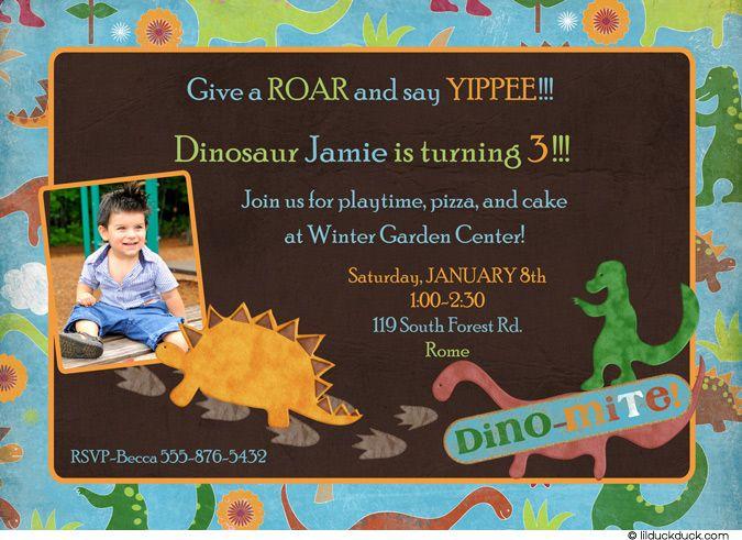 Colorful Dino-Mite Birthday Invitation Dino party Pinterest