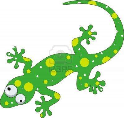 Green Gecko Cartoon Lizard Gecko Rock Painting Designs