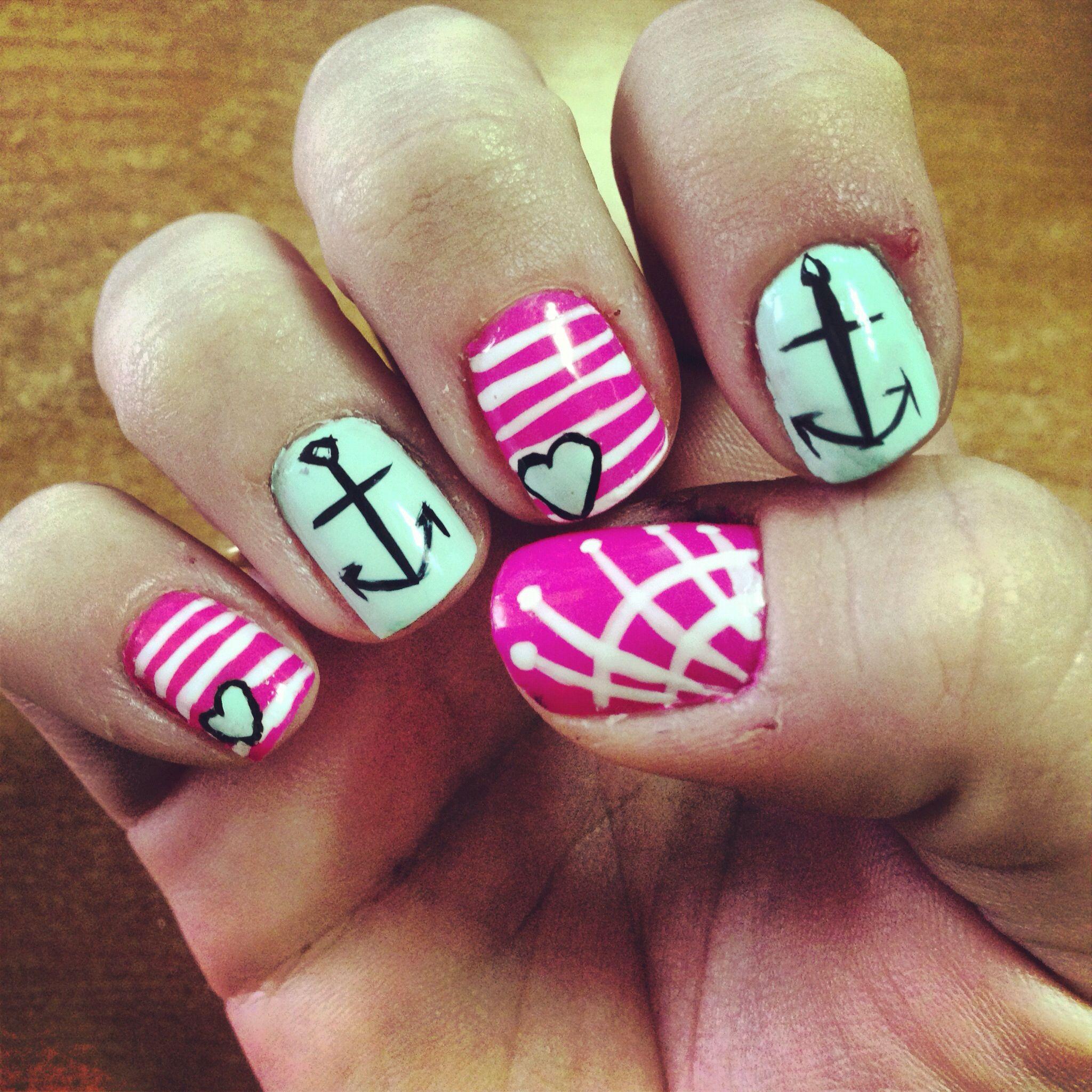 Nautical anchor nail art   My Nails   Pinterest   Anchor nail art ...