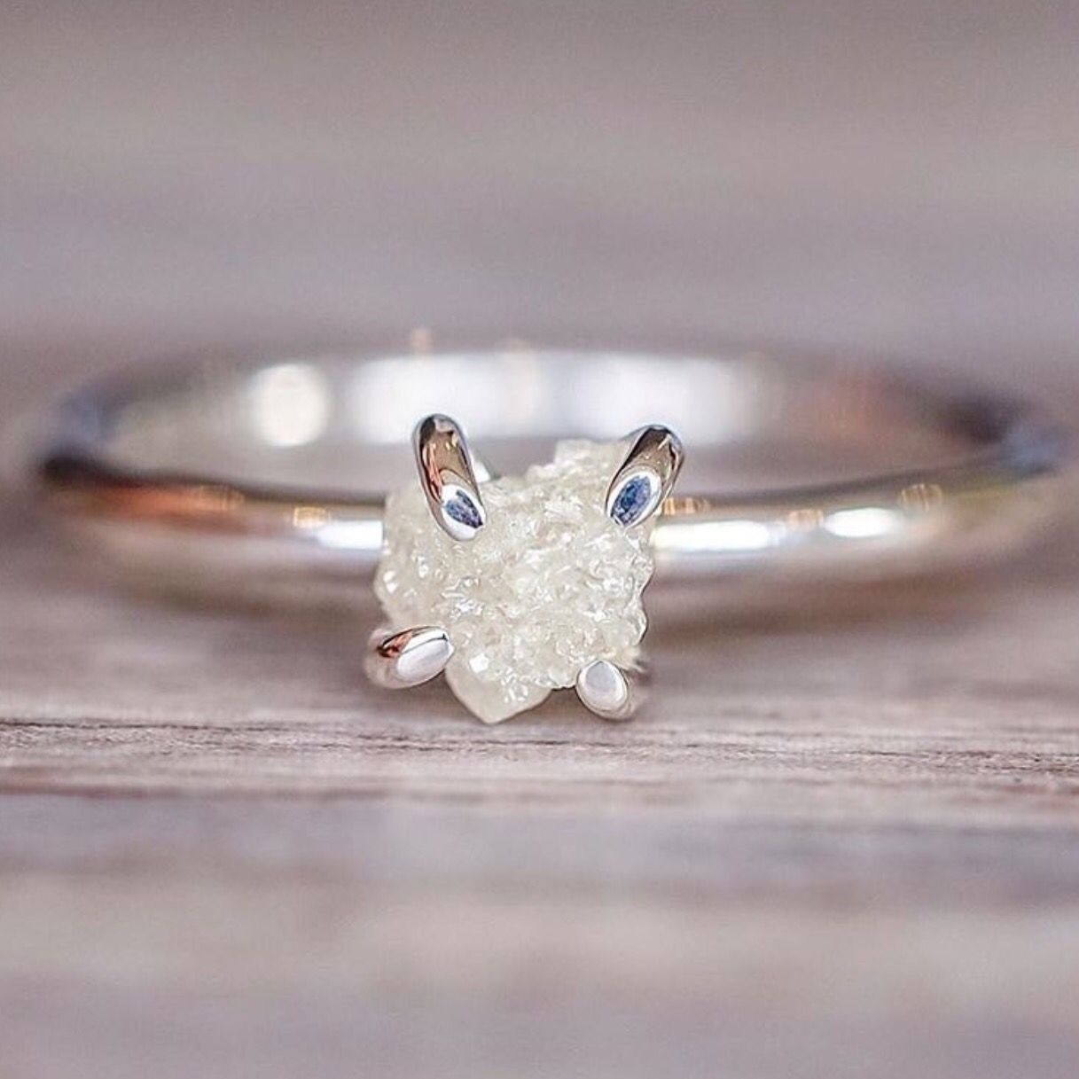 Dainty Boho Style Jewelry Size 6 Raw Herkimer Diamond Eternity Ring Sterling Silver