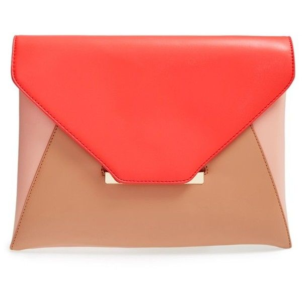 Sole Society Colorblock Vegan Leather Envelope Clutch (365 NOK) ❤ liked on Polyvore