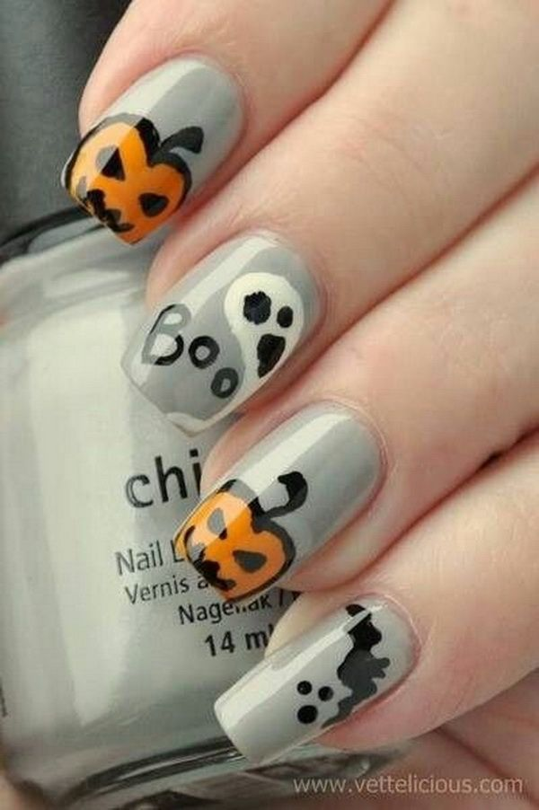 40+ Cute and Spooky Halloween Nail Art Designs | Gray nails ...