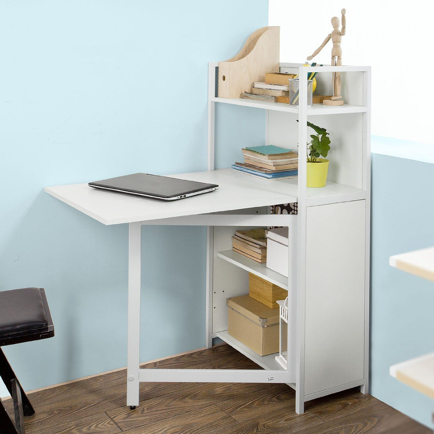 SoBuy Home Office 4 Tiers Bookcase Storage Shelves with Folding ...