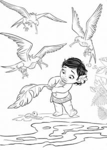 Baby Moana Rescuing The Turtle Coloring Page Free Movie Coloring