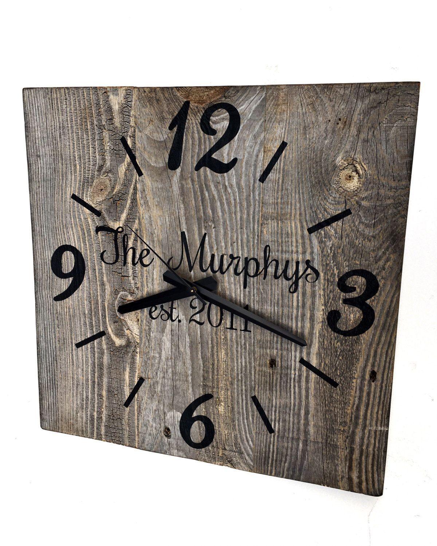 Large Wooden Clock Part - 49: Reclaimed Barn Wood Clock Custom Clock Personalized Family Name Clock Large  Rustic Wall Clock Unique Wall
