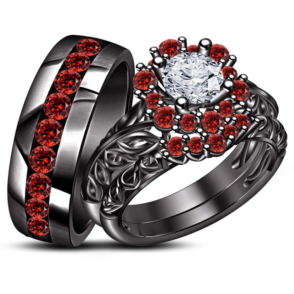 14k black gold over diamond his hers bridal engagement