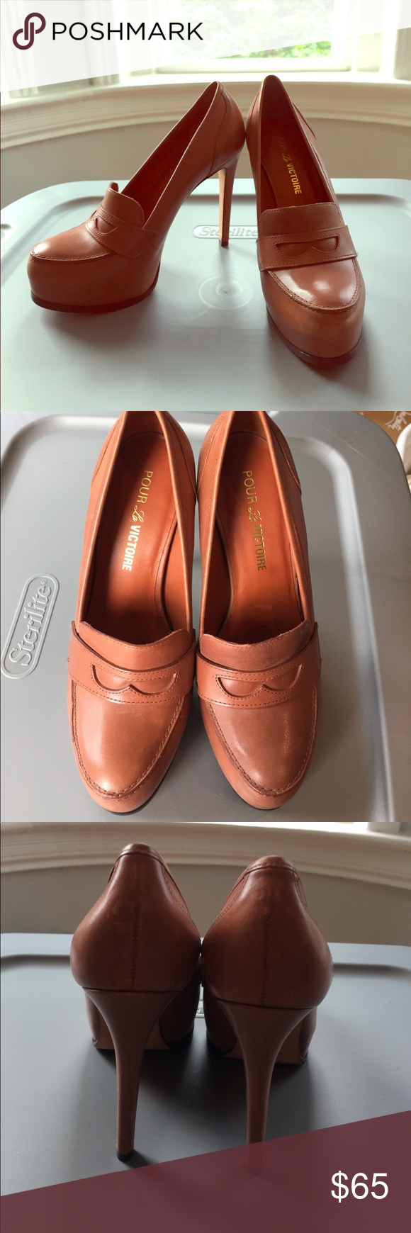 b7e99297ee0 PLV Penny loafer Heels Light brown leather loafer-style PLV heels. Perfect  for school girl or office. Only worn once and in great condition! Pour la  ...