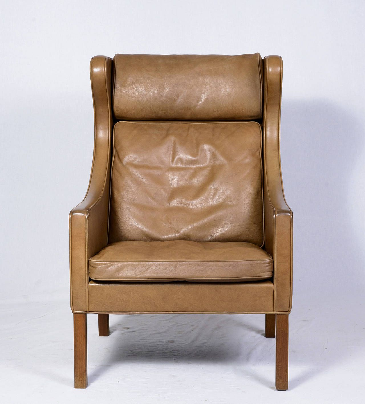 Børge Mogensen Leather Wingback Chair and Stool Leather