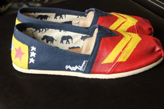 7516fd7fb24655 Wonder Woman Custom Shoes Toms Vans Keds or by InfiniteInspiration