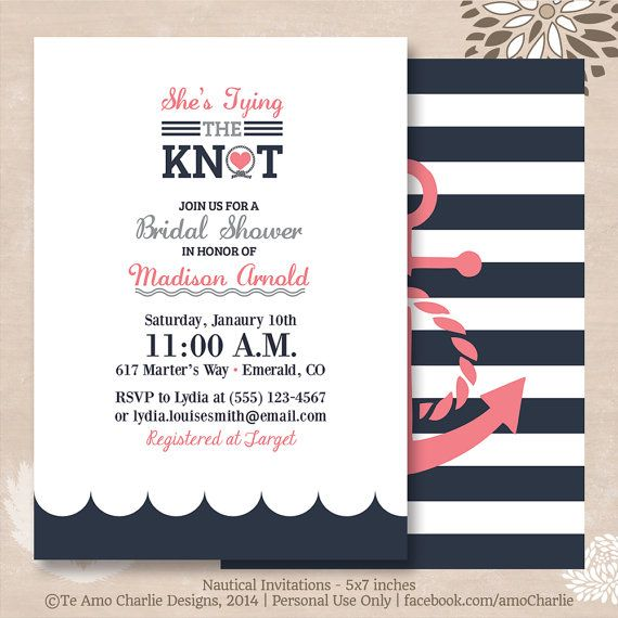 Tying The Knot Nautical Bridal Shower Invitations   Modern Nautical  Invitations