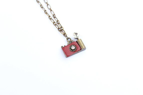 Camera  antique bronze and red leather camera by SimplyJustLovely, $22.00