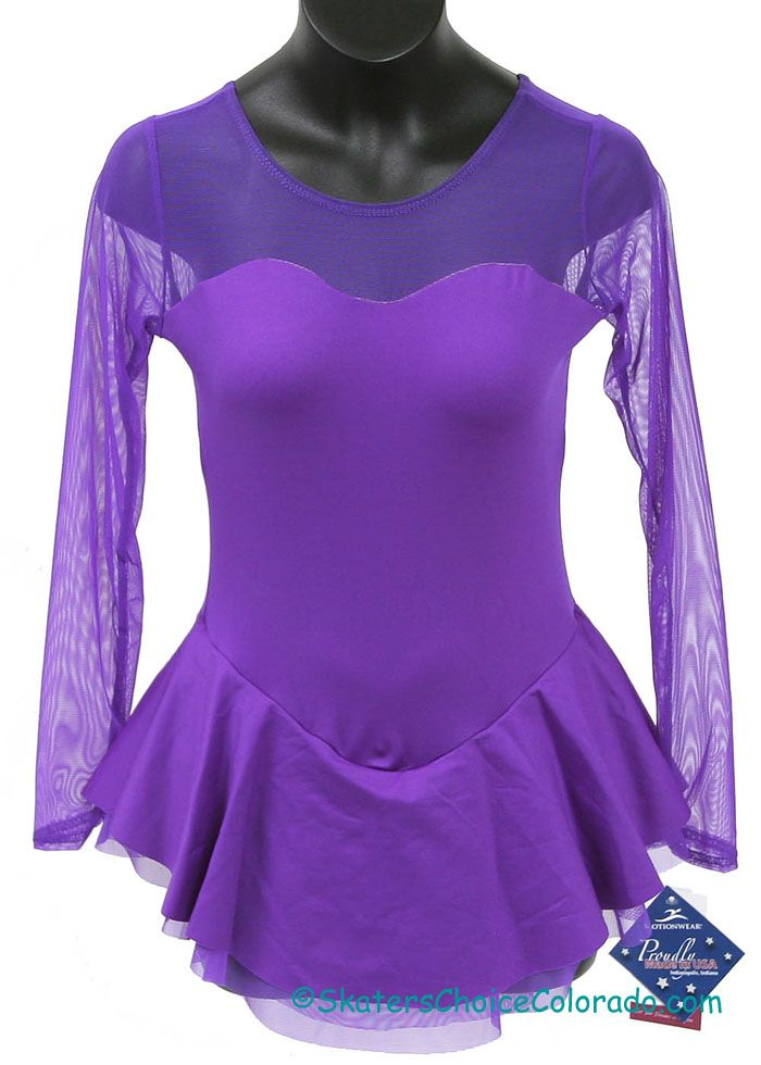 Motionwear LS Lycra Dress Mesh Sweetheart Neck @ Skater's Choice Child Large   $58.00 Motionwear Long Sleeve Lycra Dress with Mesh Sweetheart Neckline and Sleeves Color: Purple Size: Child L