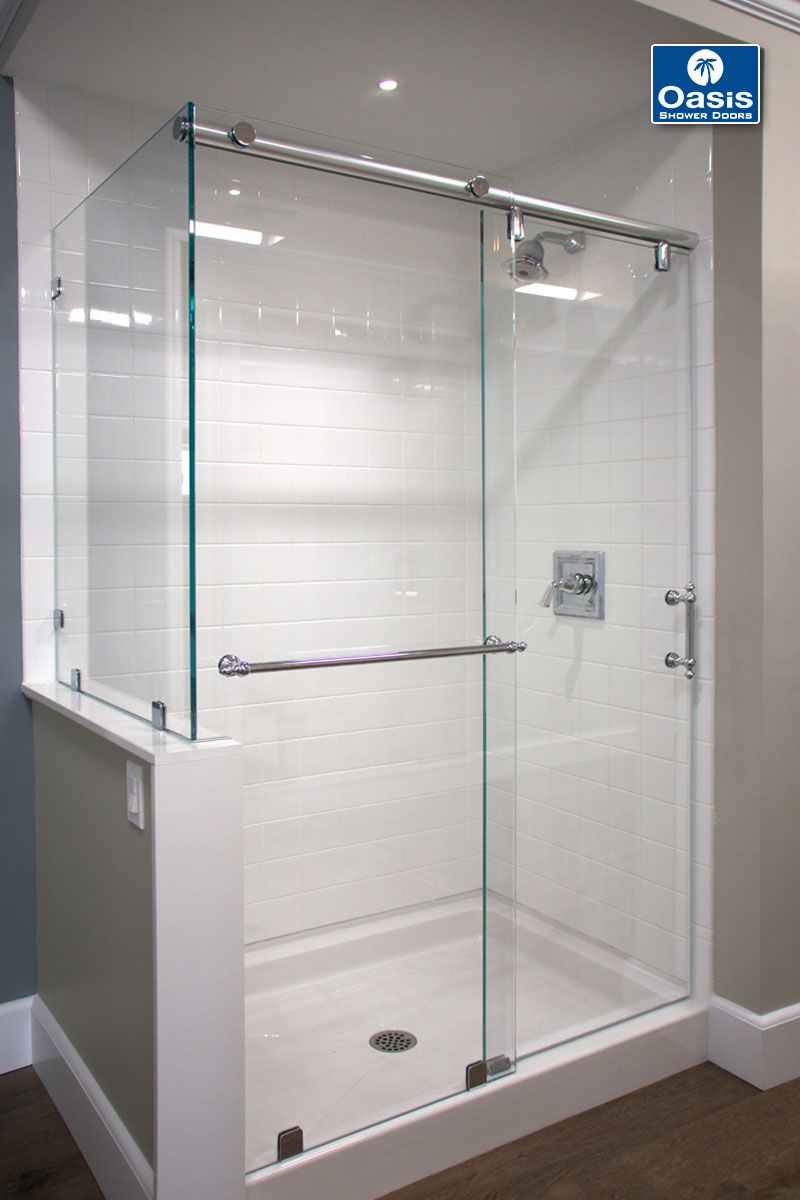 Oasis Hydroslide With Return Panel The Shower Features 1 2 Glass A Fixed Panel Return Shower Sliding Glass Door Frameless Sliding Shower Doors Shower Doors