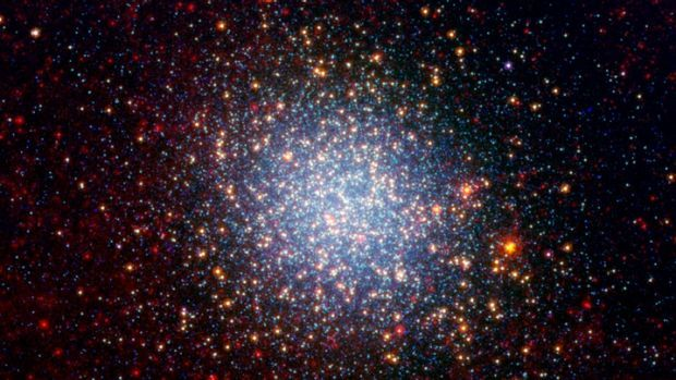 The Omega Centauri globular cluster viewed by NASA's Spitzer telescope.